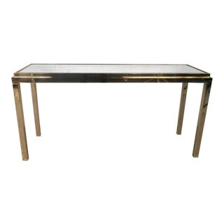 Vintage Brass Console Table With Beveled Mirror Top