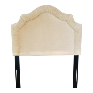 Honey Velvet-Upholstered Twin Headboard