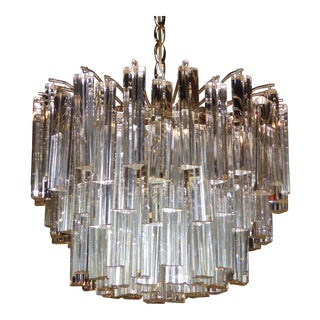 Lush Camer Glass Chandelier with Venini Triedri Crystals