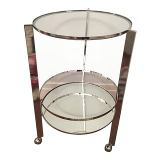 CB2 Round Silver Metal & Glass Bar Cart