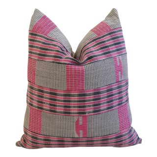Pink & Gray Boho-Chic Mali Woven Tribal Feather/Down Pillow