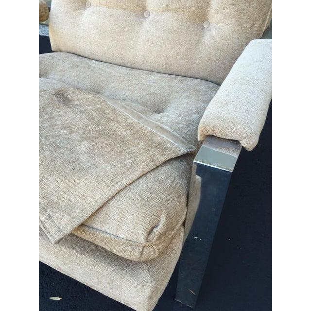 Milo Baughman Style Chrome Flat Bar Chair - Image 8 of 10