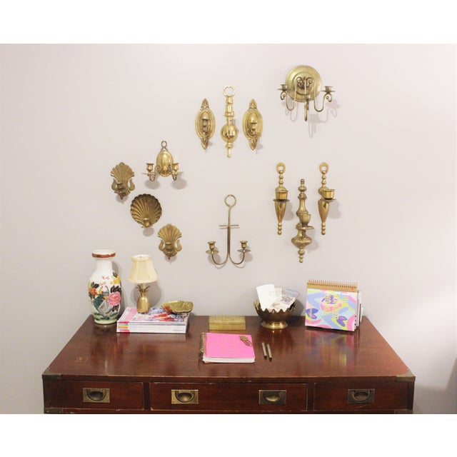 Vintage Brass Wall Sconces - Set of 3 - Image 5 of 6
