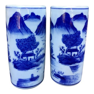 Vintage Chinoiserie Blue & White Vases - A Pair