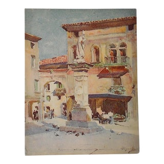 Vintage Lithograph Northern Italy, Bassano