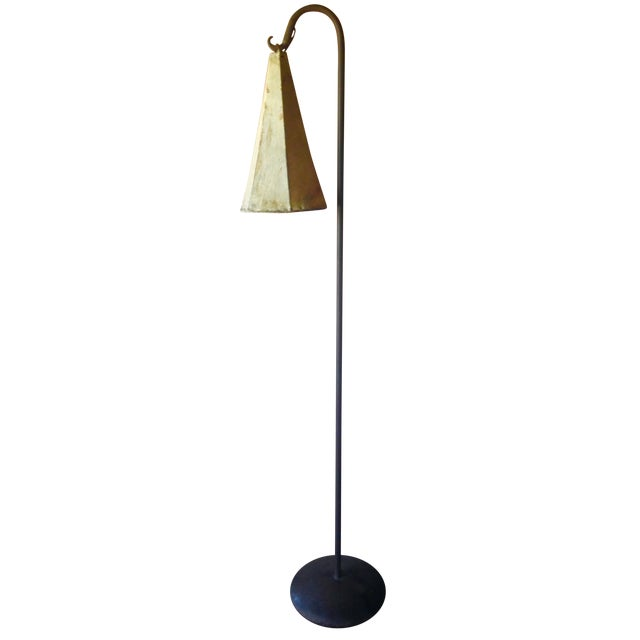 Distressed goat skin lamp shade floor lamp chairish for Distressed metal floor lamp