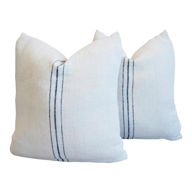 Vintage French Grain Sack Textile Pillows - a Pair - Image 1 of 10