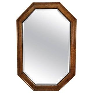 Mid Century Modern Octagonal Burlwood Mirror