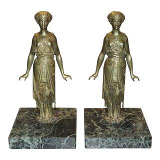 Pair of Vintage Bronze Ladies