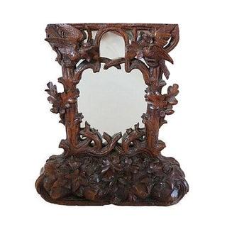 Antique Hand-Carved Black Forest Bureau Mirror