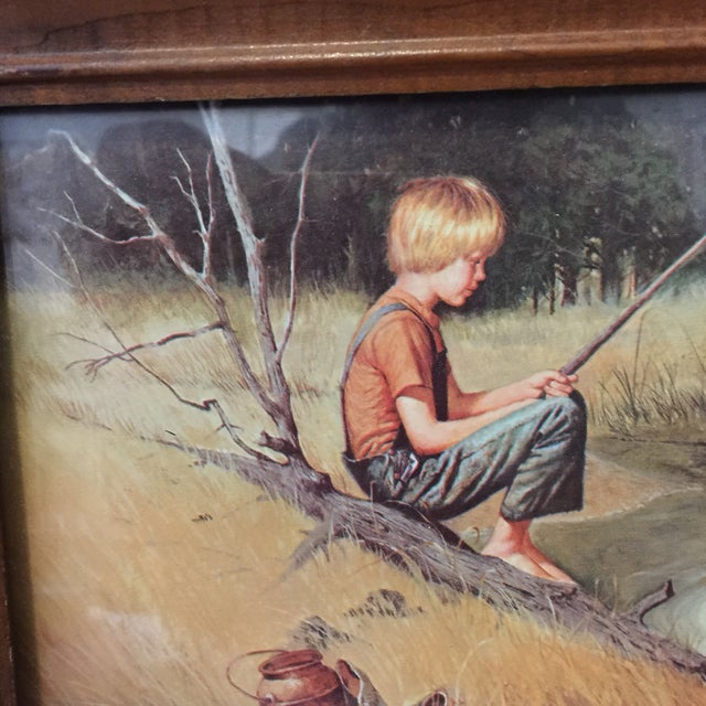 Image of Traditional Boy Fishing Drawing
