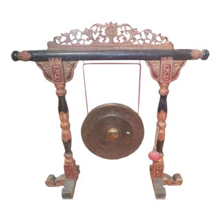 "Indonesian ""Gong"" on Carved Stand"