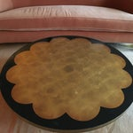 Image of Hollywood Regency Round Gold Leaf Coffee Table
