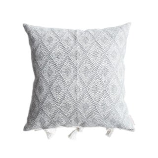 "Grey Mexican Handwoven Pillow - 18""x18"""