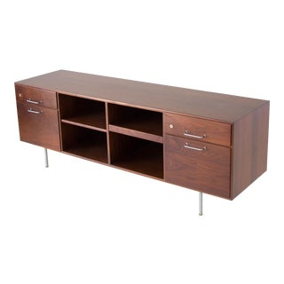 Jens Risom Walnut Credenza with Open Storage Bays