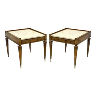 Vintage Weiman Hollywood Regency Marble Top Walnut Side Tables - A Pair
