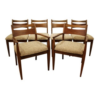 Set of 6 Mid-Century Modern American of Martinsville Caned Walnut Dining Chairs