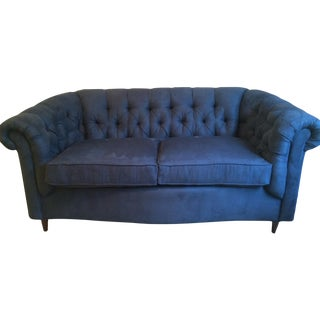 Navy Loveseat, Chesterfield Style