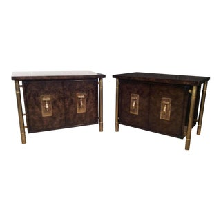 Large Burl & Brass Side Tables by MasterCraft - A Pair