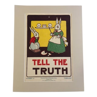 """Vintage 1930's """"Tell the Truth"""" Classroom Poster"""
