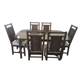 Young Hinkle by Henry Link 80's Wicker Glass Top Dining Room Set