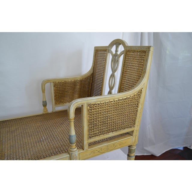 Antique Adams Painted Neoclassical Caned Chaise - Image 3 of 11