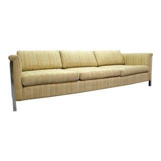 Mid-Century Danish Modern Milo Baughman Style Desiener Chrome Frame Sofa