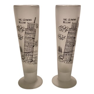 "Vintage ""The Leaning Bellini"" Frosted Glasses - Set of 2"