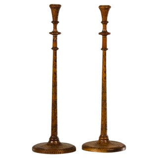 Pair of tall and slender candlesticks carved with poker work decoration from England c.1880.