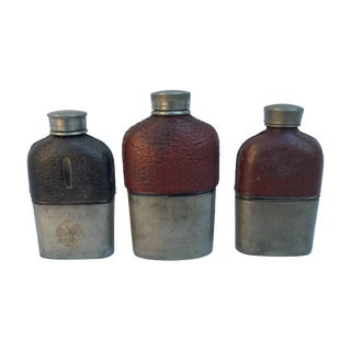 Edwardian Glass & Leather Toddy Flasks - Set of 3