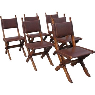 Antique French Rustic Leather Dining Chairs - Set of 6