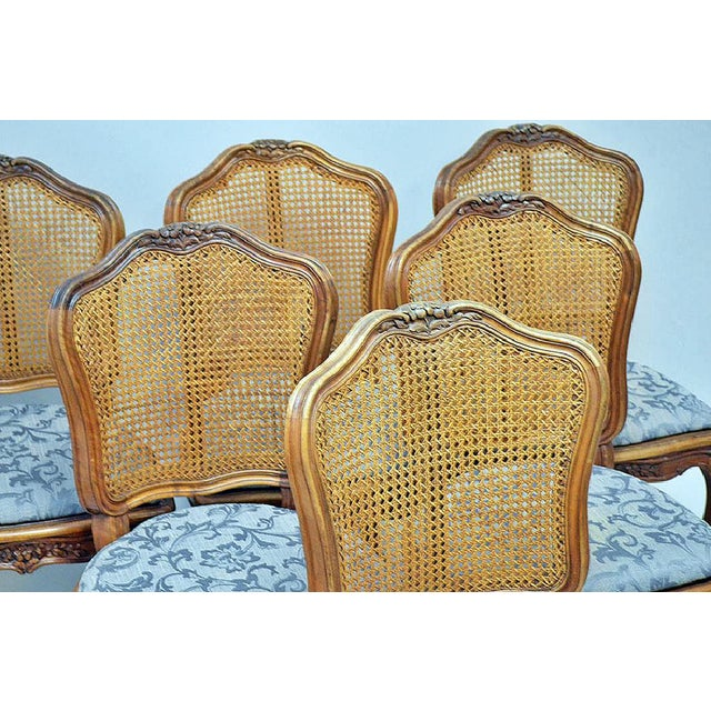French Country Caned Dining Chairs, Set of 6 - Image 3 of 5