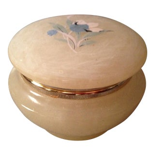 Blue Flower Motif Alabaster Powder Box