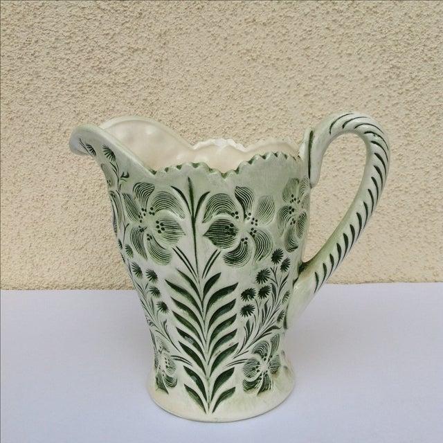 Green Botanical Artisan Pottery Pitcher - Image 2 of 11