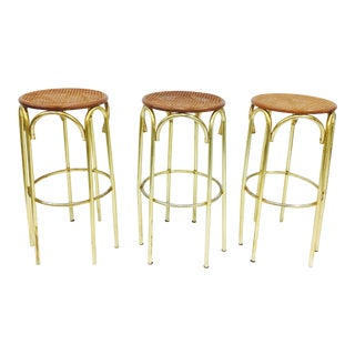 Vintage Lacquered Brass & Cane Top Barstools - Set of 3