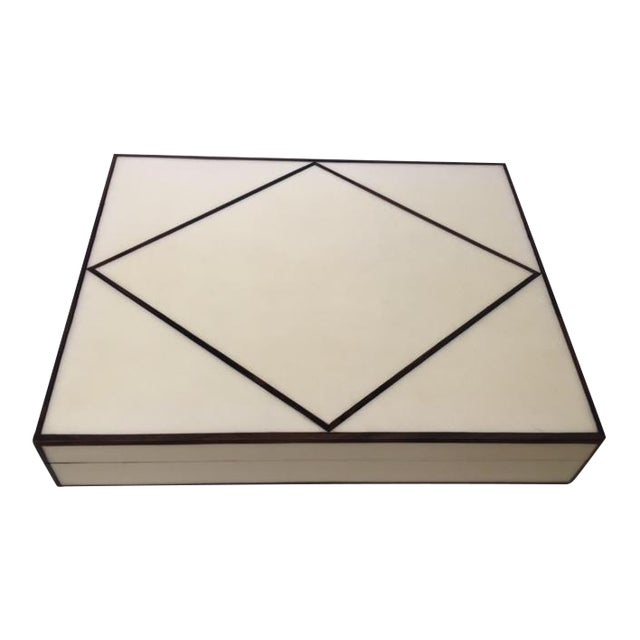 Image of Ebony Trimmed Cream Parchment Box