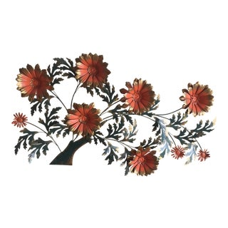 1960's Vintage Metal Flower Wall Art