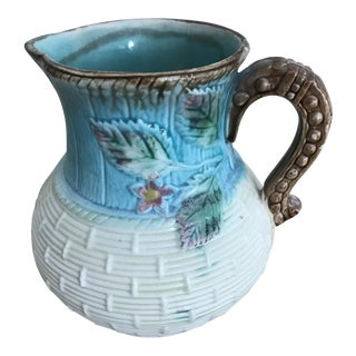 Antique Turquoise Majolica Pitcher