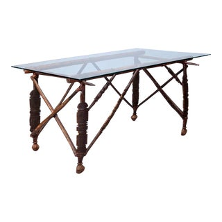 Glass Top Table with North African Carved Wood Base