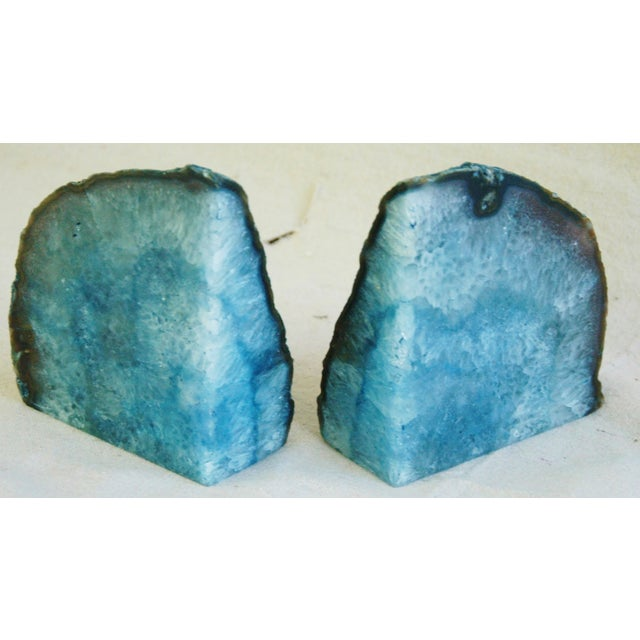 Deep Blue Polished Crystal Rock Geode Bookends - Image 6 of 6