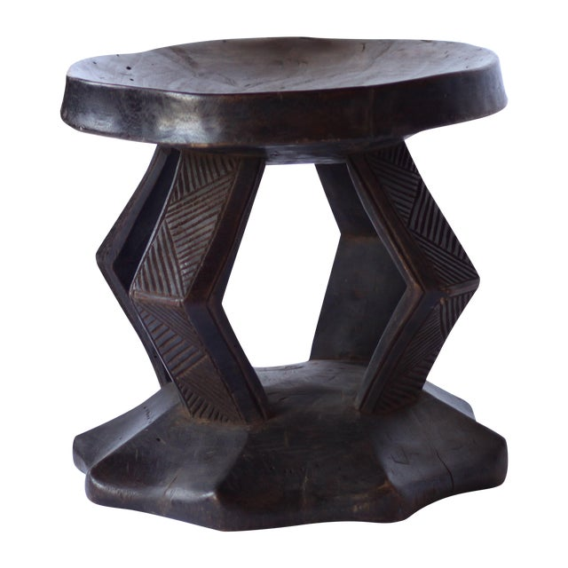 Image of Carved African Wood Stool III