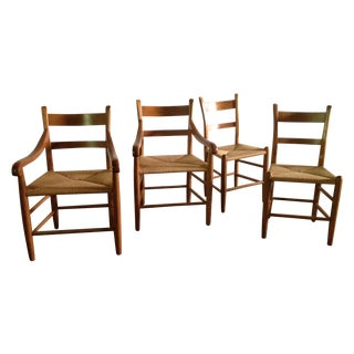 American Dining Chairs With Rush Seats - Set of 4