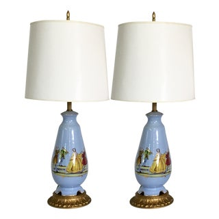 French Blue Decalcomania Porcelain Figural - Pair
