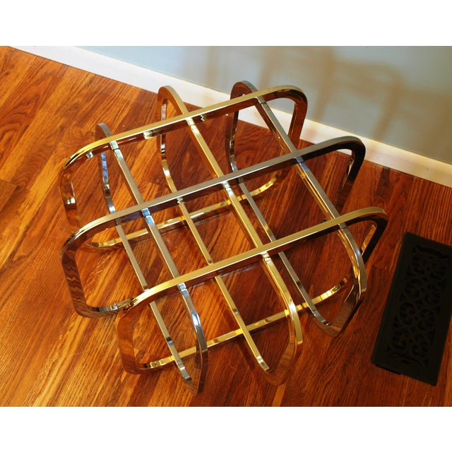 Vintage Chrome & Brass Glass Top Coffee Table - Image 7 of 8