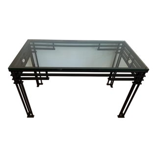 Mid-Century Black Iron and Glass Console