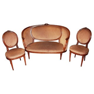 French Louis XVI-Style Settee & Chairs - Set of 3