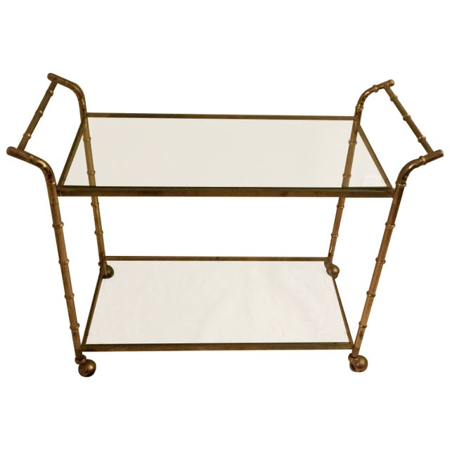 Faux Bamboo Brass Bar Cart - Image 1 of 8
