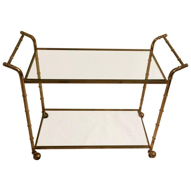 Image of Faux Bamboo Brass Bar Cart