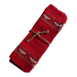 Red Guatemalan Hand-Loomed Cocktail Napkins - Set of 6