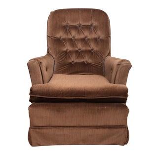 Mid-Century Brown Velvet Lounge Chair